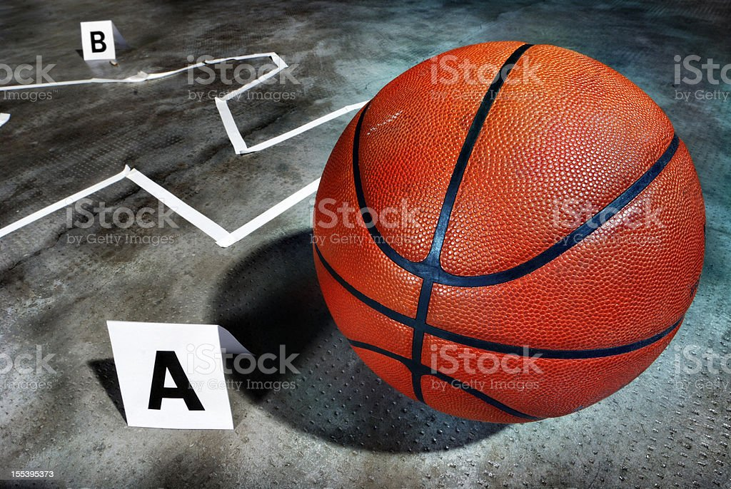 Crime scene - Death of a basketball player royalty-free stock photo