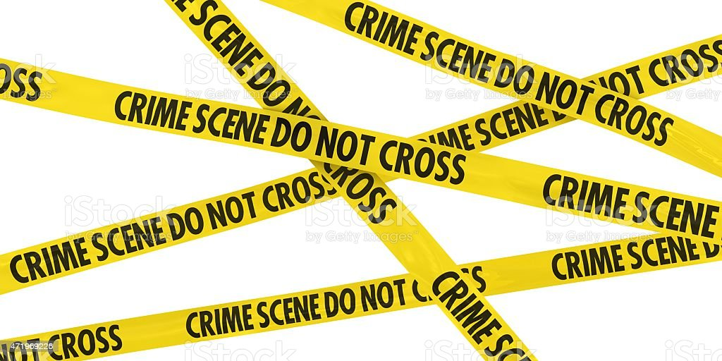 Crime Scene Do Not Cross Barrier Tape Background stock photo