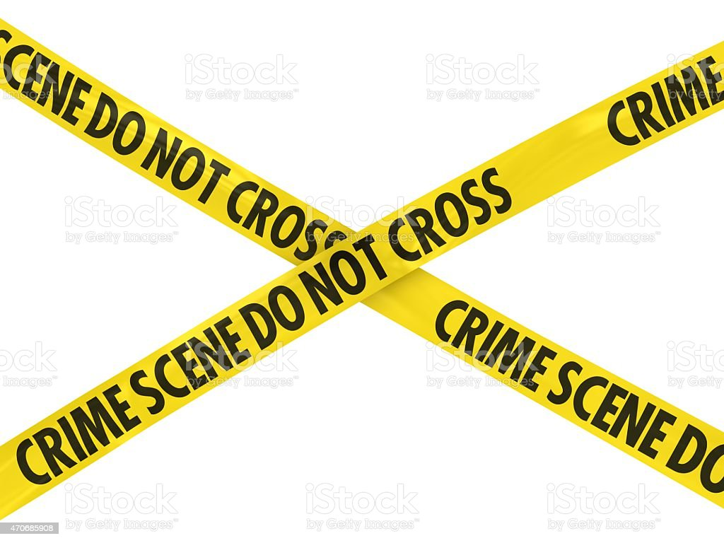 Crime Scene Do Not Cross Barrier Tape stock photo