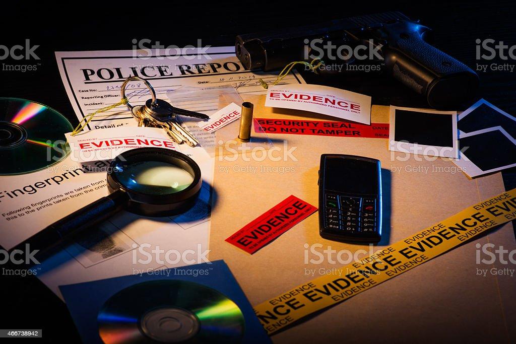 Crime scene evidence stock photo