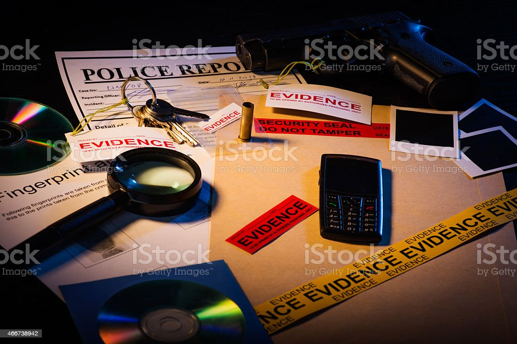 Crime scene evidence stock photo