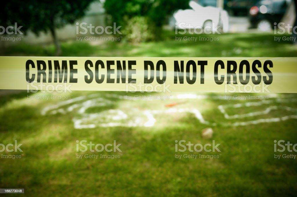 Crime Scene in a park stock photo