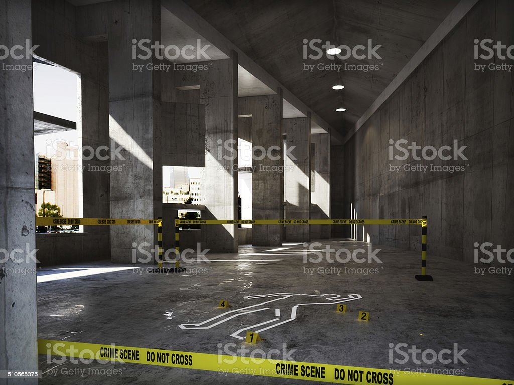 Crime scene in an empty building stock photo