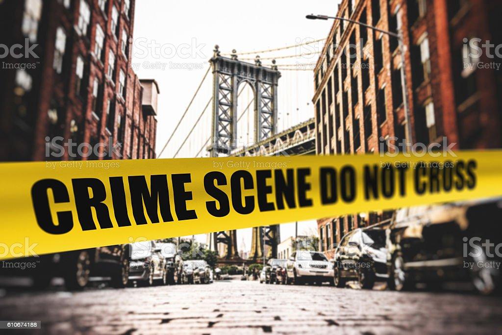 crime scene in dumbo - brooklyn stock photo