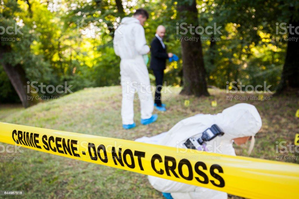 Crime scene in the woods stock photo