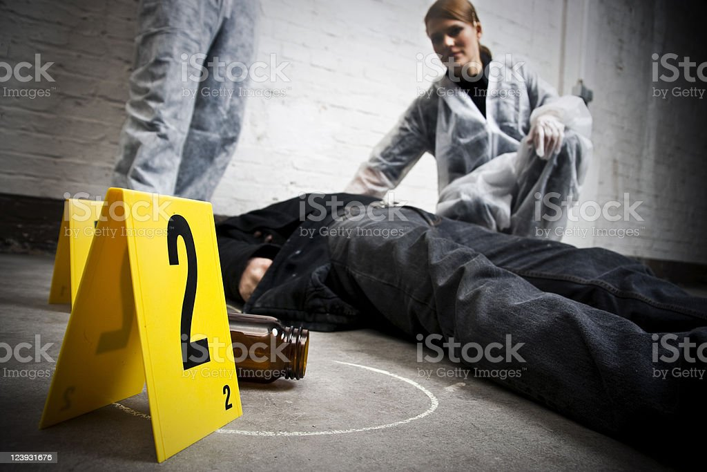 Crime Scene Investigation Death Body Police Officers royalty-free stock photo