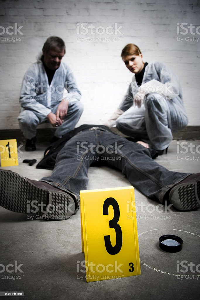 Crime Scene Investigation with Dead Body royalty-free stock photo
