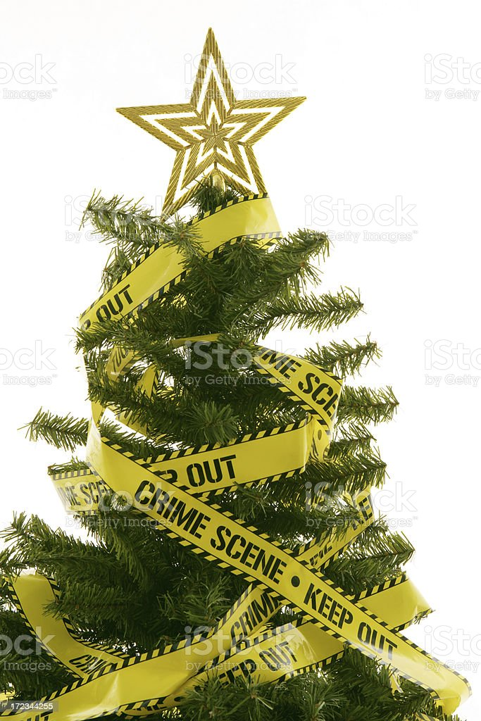 Crime Scene Investigator Christmas Tree stock photo