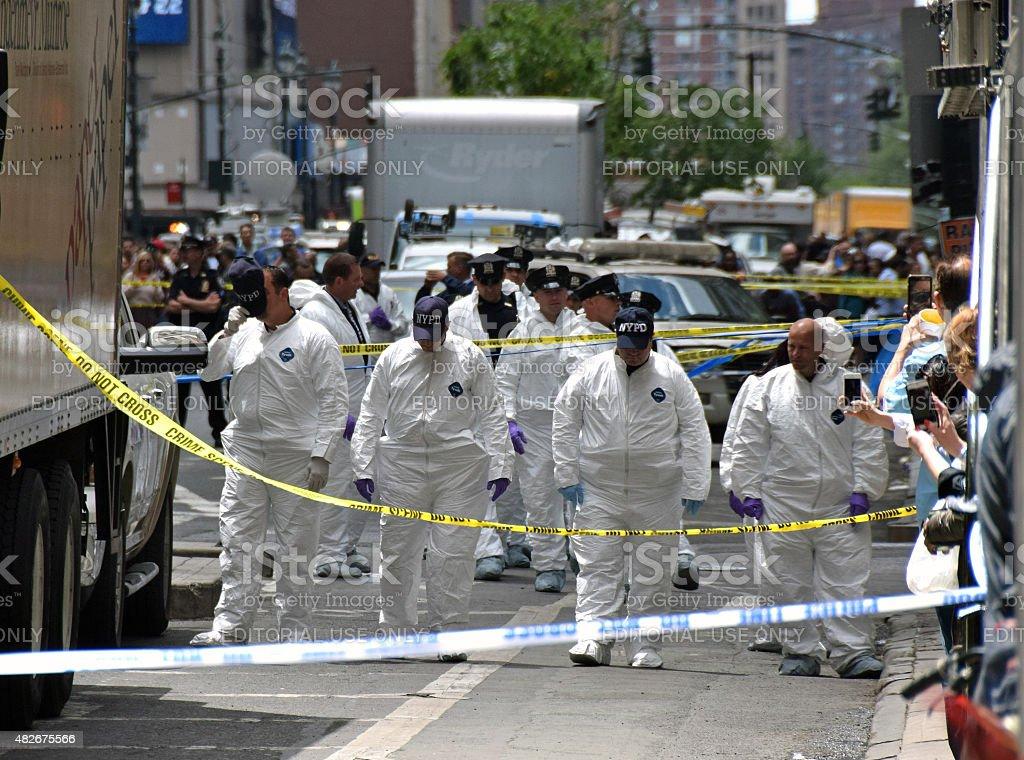 Crime scene investigators in New York City stock photo