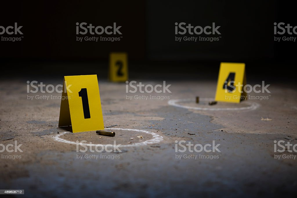 Crime Scene Markers stock photo