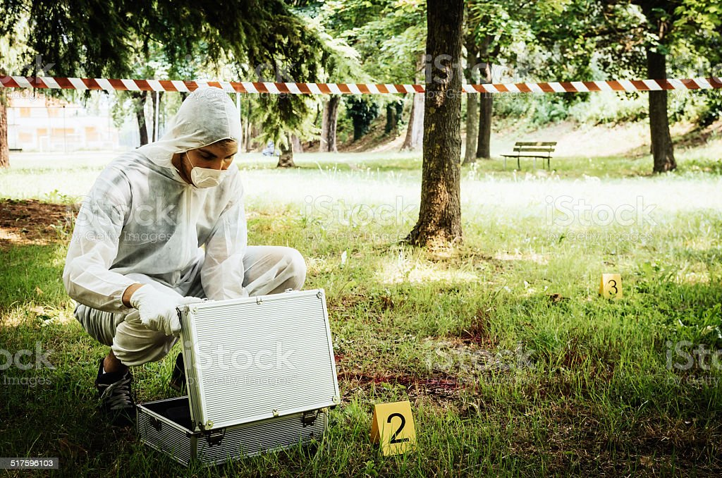 Crime scene outdoor stock photo