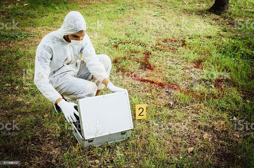 Crime scene outdoor stock photo
