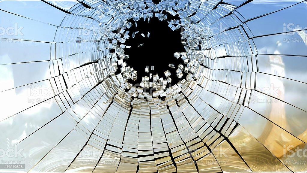 Crime scene: Pieces of Broken mirror glass royalty-free stock photo