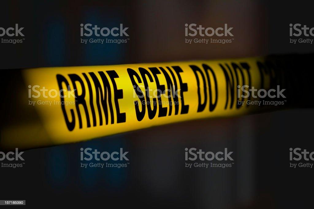 Crime Scene Tape Night royalty-free stock photo