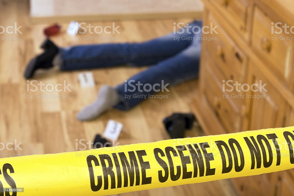 Crime scene where a dead body is found in the kitchen stock photo