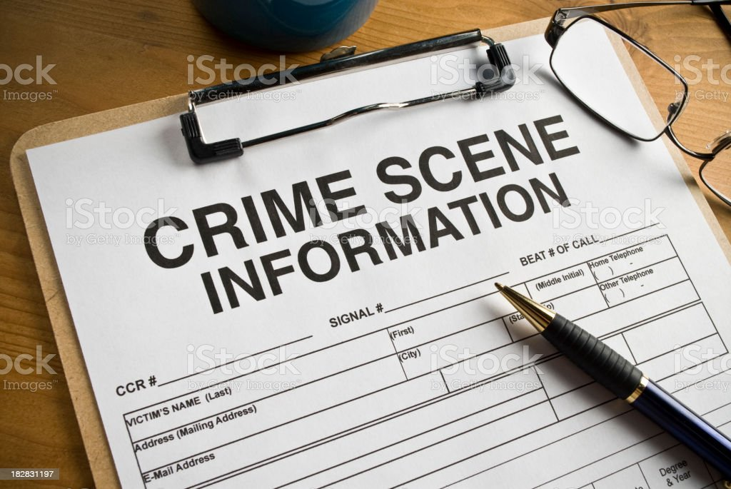Crime Scene Worksheet stock photo
