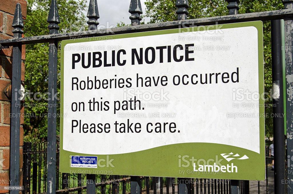 Crime warning sign, Lambeth stock photo