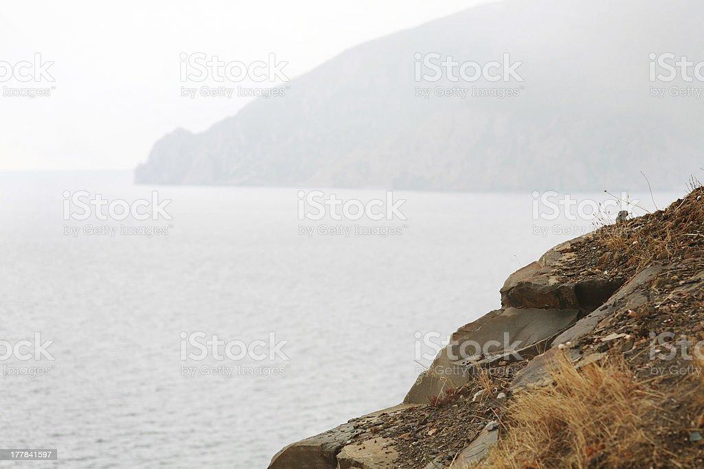 Crimea haze, seaside royalty-free stock photo