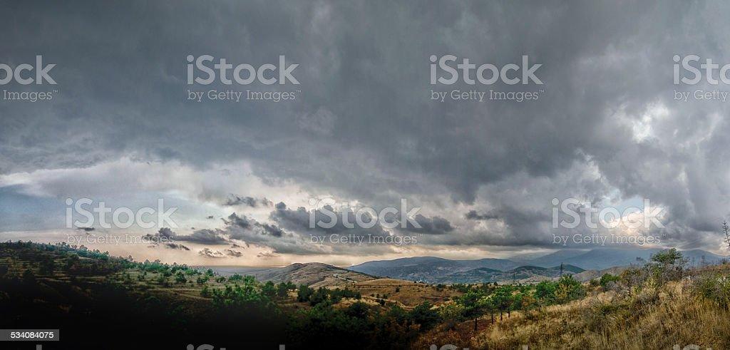 Crimea mountains and Black sea landscape stock photo