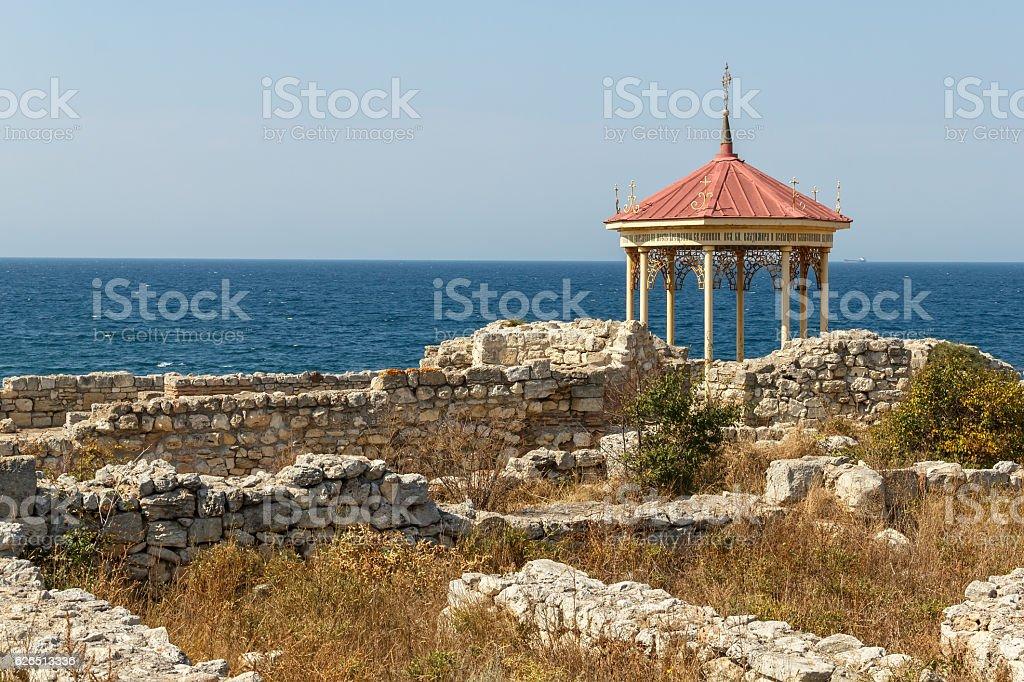Crimea, Sevastopol. Chapel in Tauric Chersonesos stock photo