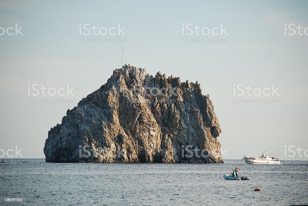 Crimea Ukrainian sky Adalars sea motor ship stock photo