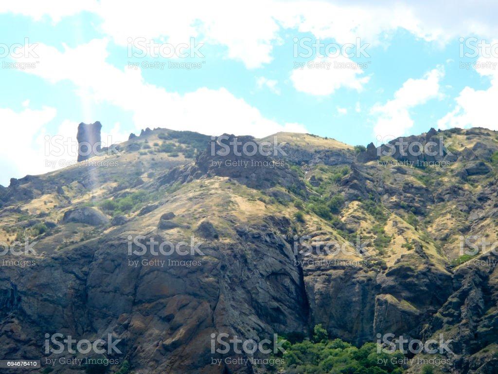 Crimean landscape of extinct Karadag volcano stock photo