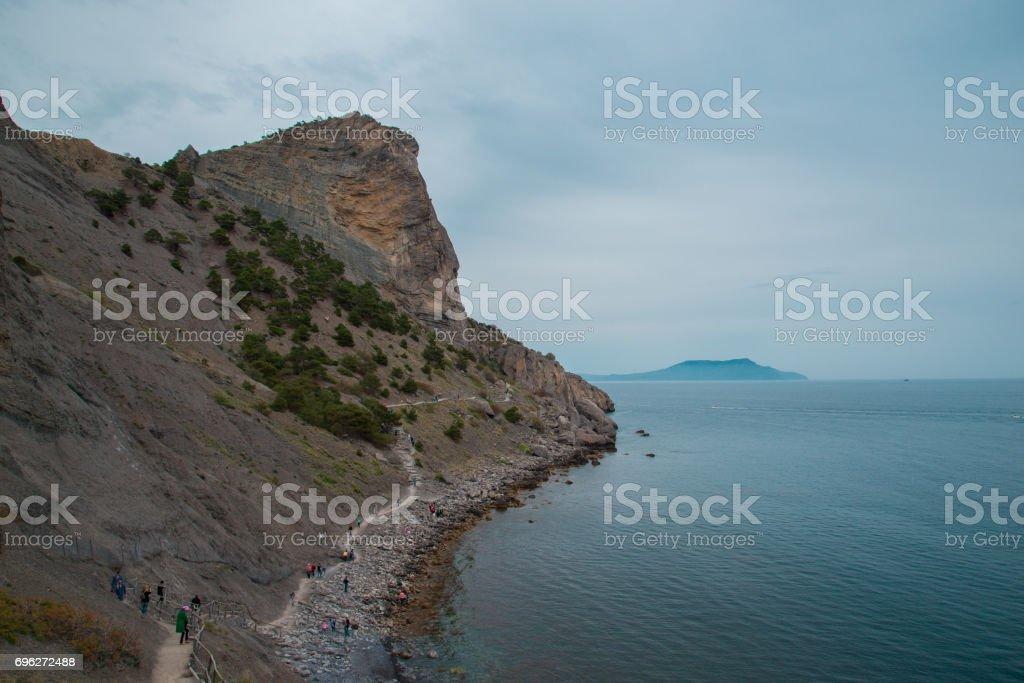 Crimean mountain on black sea stock photo