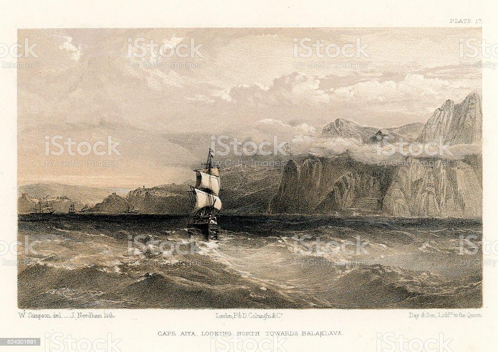 Crimean War - Cape Aiya vector art illustration