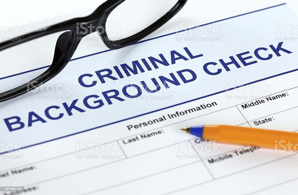 Criminal background check application form stock photo