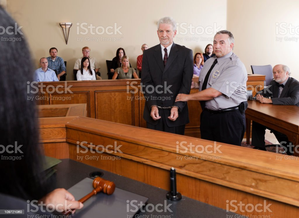 Criminal Defendant in Court stock photo