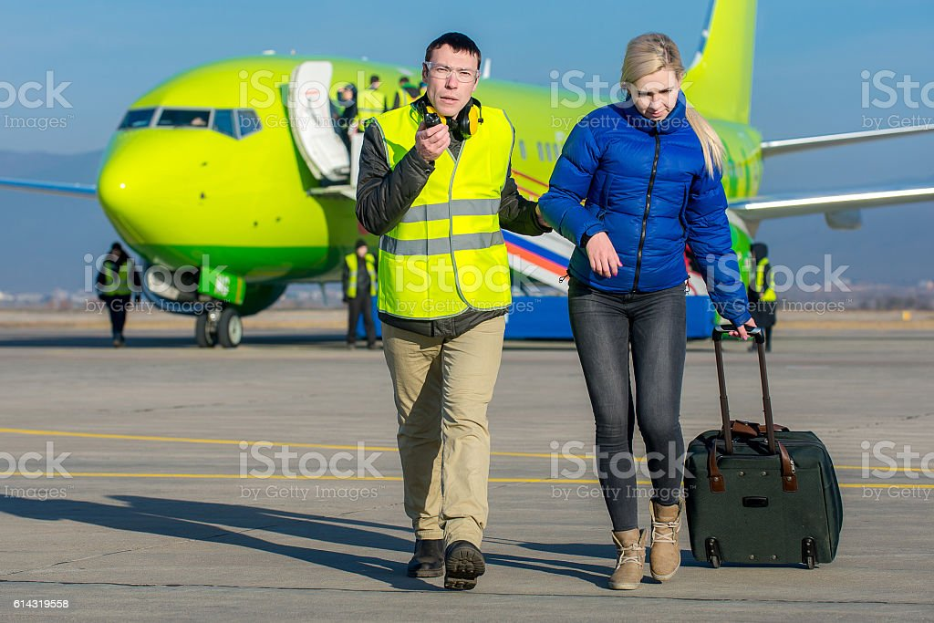 criminal detention at an airport stock photo