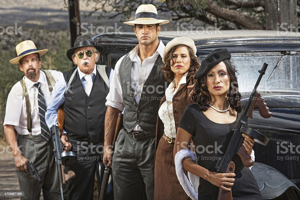 Criminal Gangsters with Weapons stock photo