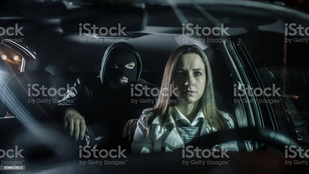 Criminal in the car stock photo