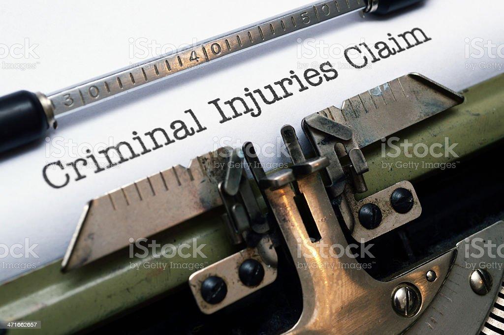 Criminal injuries claim royalty-free stock photo