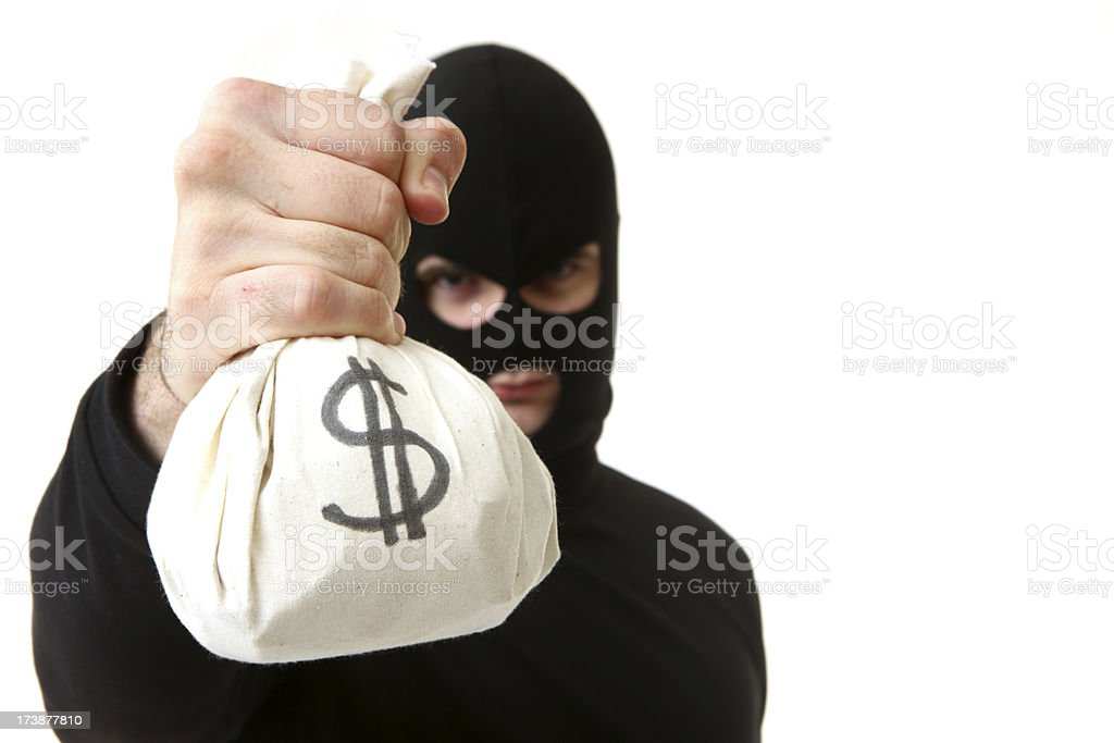 Criminal with Bag of Money royalty-free stock photo