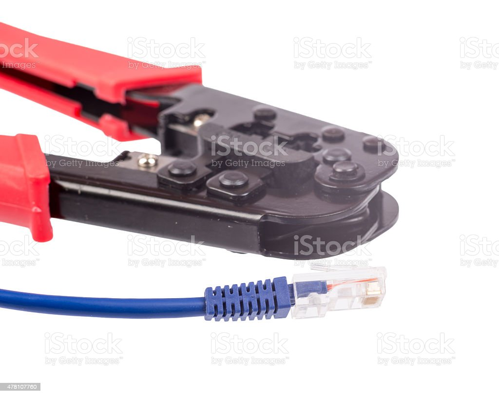 Crimper with blue cable stock photo