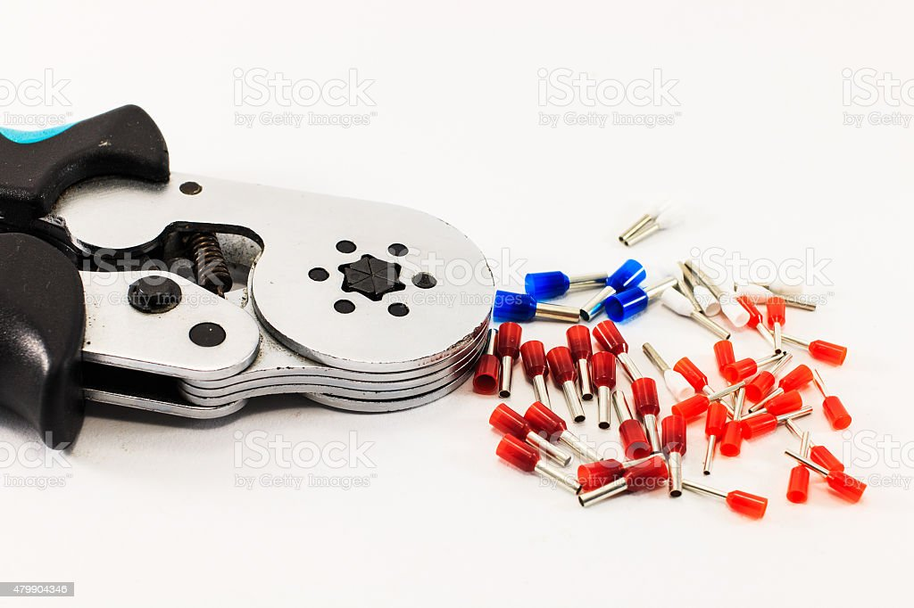Crimping tool and pin terminal, tool for cable wiring stock photo