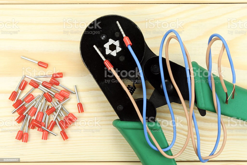 Crimping tool for wires stock photo