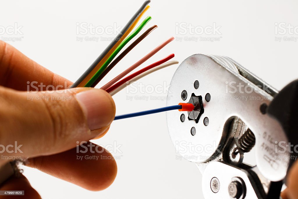 Crimping tool , show how to crimp stock photo