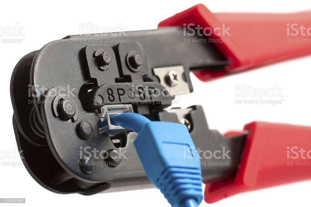 Crimping tool with RJ45 jack stock photo