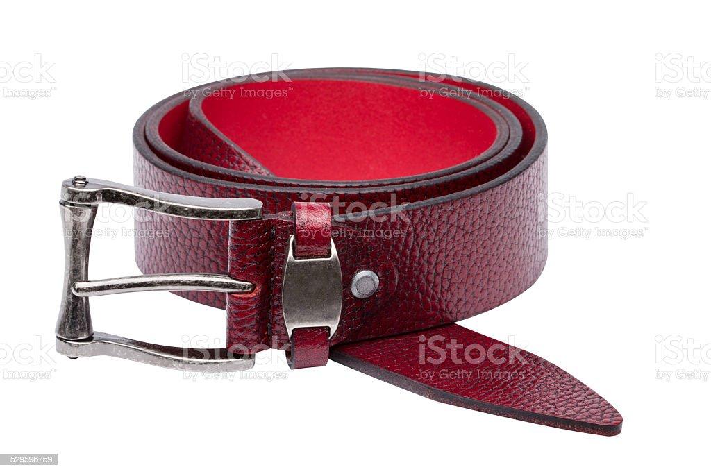 Crimson men leather belt isolated on white stock photo