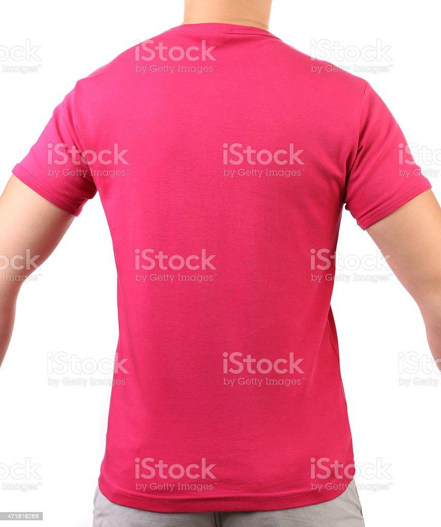 Crimson T-shirt on a body. Back. stock photo