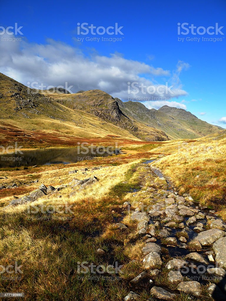 Crinkle Crags and Red Tarn stock photo