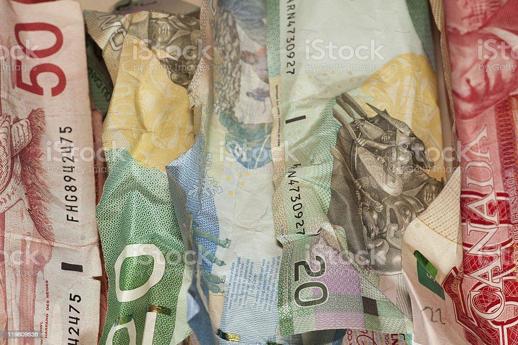 Crinkled Canadian dollar bills closeup royalty-free stock photo