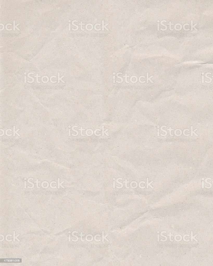 Crinkled white paper stock photo