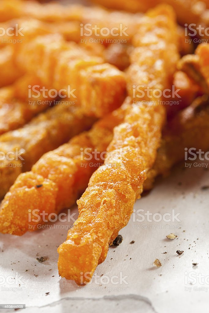 Cripsy Organic Sweet Potato Fries royalty-free stock photo