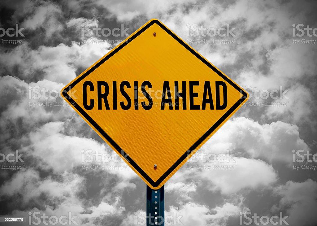 crisis ahead stock photo