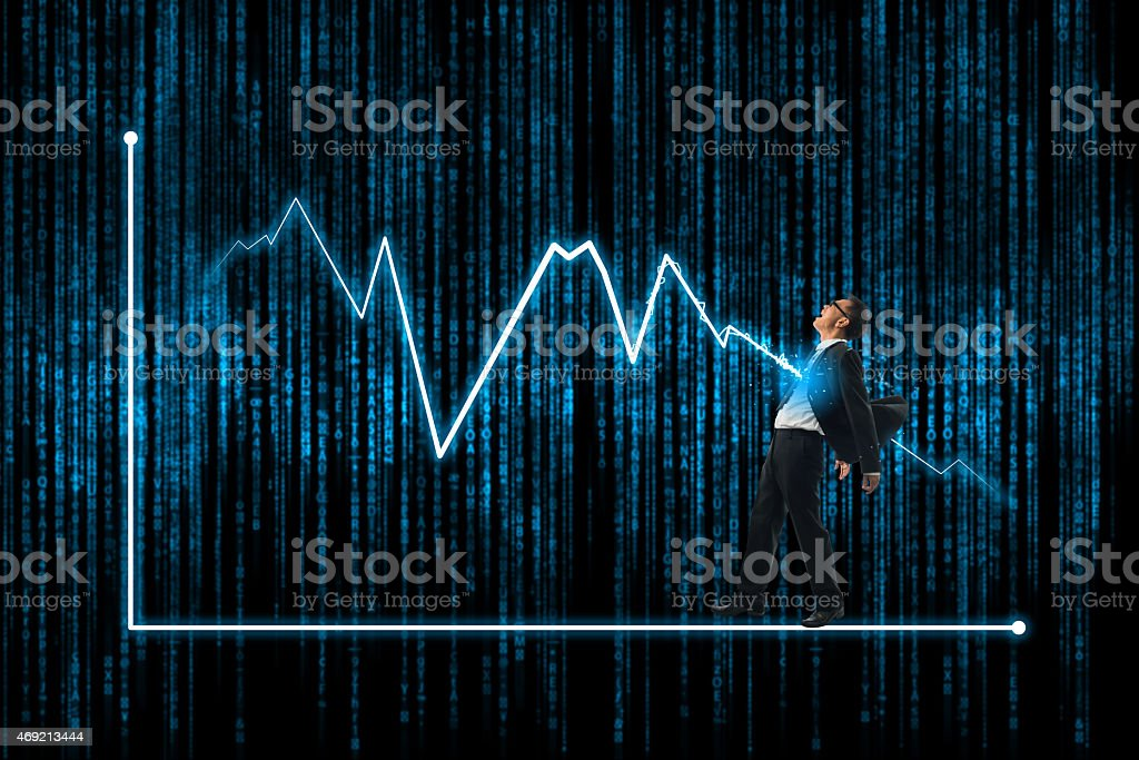 Crisis and business lighting bolt, lightning bolt strike. stock photo