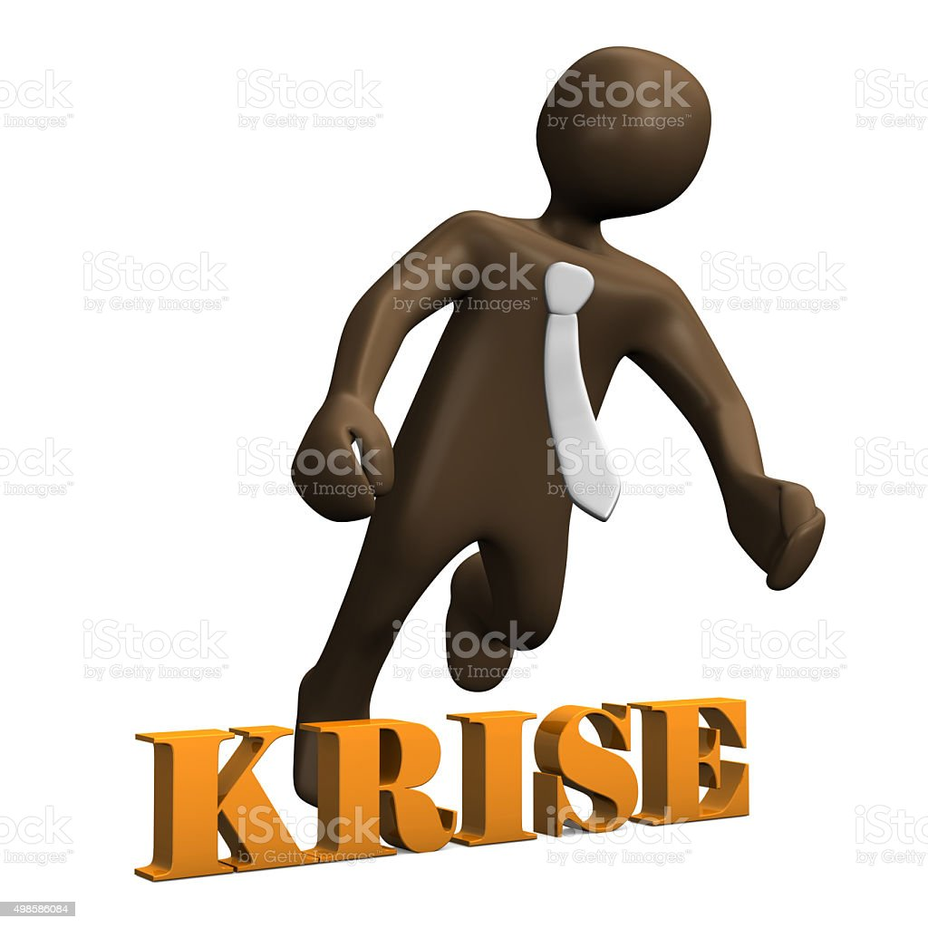 Crisis, brown manikin on white background 3D rendering stock photo