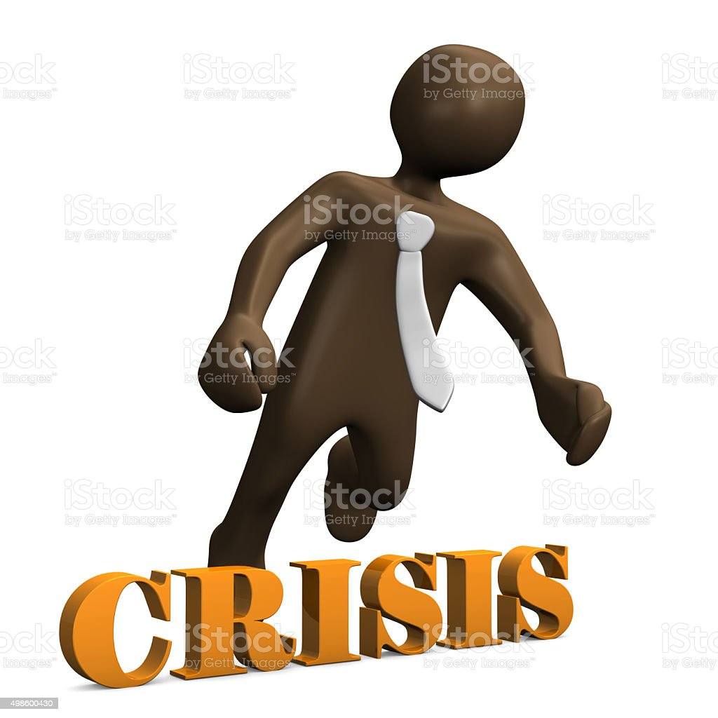 Crisis, brown manikin on white background 3D rendering stock photo